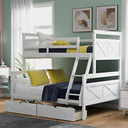 Twin Over Full Bunk Bed With Ladder Pull-out Storage Drawers Kids Loft Bedroom