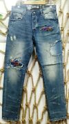Nwt Bbc Patched Stone Washed Men's Jeans Size 30/32/34/36/38/40/42 Free Shipping