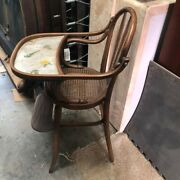 Vintage Wood High Chair Baby Infant Cane Seat