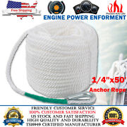 1/4 X 50and039 Twisted 3 Strand Nylon Anchor Rope Boat W/ Thimble Rigging Line White