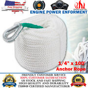 1/4 X 100and039 Twisted Three Strand Nylon Anchor Rope Braided Boat Line W/ Thimble