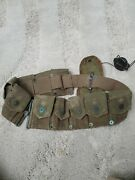 Original Vietnam War Era Used Us Army Combat Field Belt With Pouch And Compass