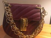 Shoulder Bag, Plum Purple, With Chain Gold Color, With Tags