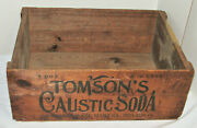 Vintage Tomsonand039s Caustic Soda Wood/wooden Shipping Crate Lye 28x20x10 Antique