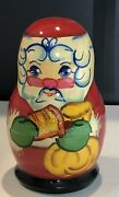 Authentic Russian Christmas Santa Nesting Dolls Wooden Hand Painted Vintage