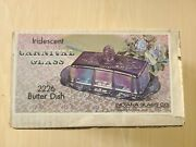 Blue Carnival Glass Covered Butter Dish Indiana Harvest Grape Iridescent 8 Wide