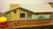 Marx - Rooster Ranch - Metal Dollhouse And Over 50 Pcs. Furniture And Accessories