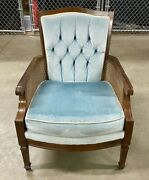Vtg Glabman Paramount Furniture Chicago Il French Blue Velour Cane Wicker Chair