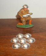 Lot Of 7 Toy Soldier Replacement Tin Helmets Neat Barclay