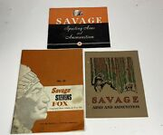 3 Vintage Early Savage Arms And Ammunition Catalogs 55, 68, 71