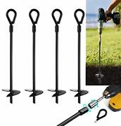 """15"""" Ground Anchors 4pcs Easy To Use With Drill, 10mm Diameter, Heavy Duty"""