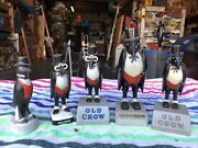 Lot Of 5 Vintage Old Crow Whiskey Advertising Promo Bar Statues Plastic Signs