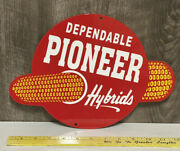 Pioneer Quality Hybrid Seed Corn Metal Sign Farm Feed Agriculture Gas Oil