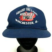 Vtg Nissin Gregory Tire And Auto Cap Hat Winchester Il. Snap Back Hat Logo Promo