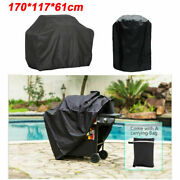170cm Bbq Covers Heavy Duty Waterproof Barbecue Smoker Grill Protectors Black
