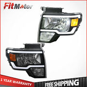 Set Of 2 Front Led Drl Headlights Headlamps Assembly For 2009-2014 Ford F150