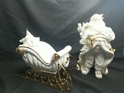 Traditions Porcelain Santa And Sleigh White Gold Christmas Decor