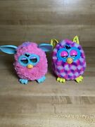 Lot Of 2 Furby Boom Pink And Purple Cubes White, Yellow Ears Blue Eye, Pink
