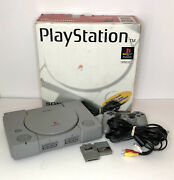 Sony Playstation Gray Game Console Ps1 W/ Controller And 2 Memory Cards Tested