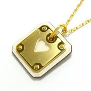 Auth Hermes Ace Of Heart Gold Craie Hardware Veau Swift Y Necklace