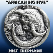 Elephant - African Big Five / 2017 Mauquoy Mint 5oz Silver Coin +artwork Ggcoins