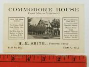Vintage 1920's Commodore House Hotel Post Mills Vermont Business Card