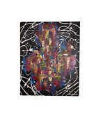 Abstract Modern Canvas Painting Jackson Pollock Style Wall Art Signed By Artist