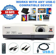 Sharp Pg-d3050w Dlp Projector - Home Theater Professional Streaming Bundle Usb-c