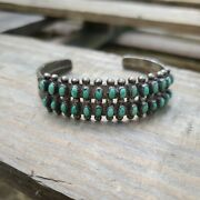 Navajo Old Pawn Turquoise And Sterling Silver Cuff Bracelet