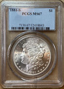 1881-s Morgan Silver Dollar Pcgs Ms67 Beautiful Coin, Bright White And Amazing