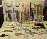 Lot Of 24 Vintage Fishing Lures-arbogast/dance/mannandrsquos/heddon- Musky/bass/pike
