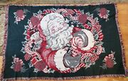 Tapestry Christmas Throw Blanket Santa Claus With Candy Cane Nutcracker 70x46
