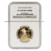 2013-w 25 Eagle Ngc Pf70ucam Ultra Cameo 1/2 Ounce American Gold Proof Coin