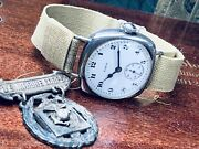 1903 Elgin Us Marine Corps Silver Officer's Wrist Watch Military Band Keeps Time