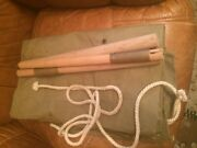 Wwii 1942 Us Army Canvas Shelter Half Tent.w/ Folding Tent Pole