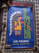 Air France Affiche Vintage French Airline Travel Poster North America Compagnie