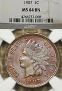 1907 1c Ngc Ms64 Bn Toned Indian Head Penny Cent Toner, Toning