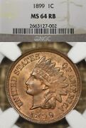 1899 1c Ngc Ms64 Rb Indian Head Penny Cent, Mostly Red Reverse Toned