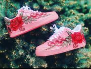 🌹 Nike Air Force 1 Low Light Pink Red Rose Floral White Custom Shoes All Sizes