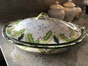 Temptations Hometown Christmas Holiday Baking Dish W/lid 2 Qt 13x5 Excellent