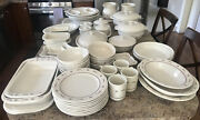 Longaberger Pottery Dish And Bakeware Set-woven Traditions Red-59pc-made In Usa