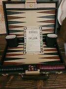 H.i.t. Hit Vintage Travel Backgammon Board Game Green And Brown Bakelite Pieces