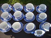 Bombay Company Blue And White Oval China Cups Saucers Creamer Unused Condition