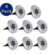 8-pack Solar In Ground Lights Outdoor Buried Lamp Disk Led Lawn Pathway Garden