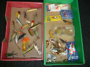 Big Lot Of Vintage Fishing Lures - Wood Wooden Fly Bobbers Etc.