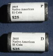 2015 P/d Native American 1 Coin Mint Rolls 50 Total Lot 010853