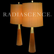 Gerald Thurston Lightolier Atomic Modern Brass Walnut Speed Cone Table Lamps And03950