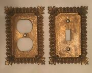 Vintage Fleur De Lis Metal Electrical Outlet And Switch Plates Matching Pair Gold
