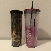 Lot Of 2 2012/2013 Starbucks 24 Oz. Cold Cup Tumbler And 16 Oz Travel Tumbler