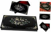 Mother Of Pearl Butterfly Decorative Box With Lid - Wooden Storage Box Desk